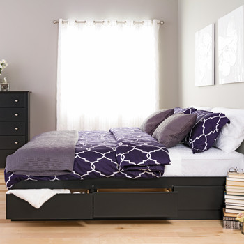 King Mate's Platform Storage Bed with 6 Drawers, Black