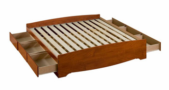 King Mate's Platform Storage Bed with 6 Drawers, Cherry