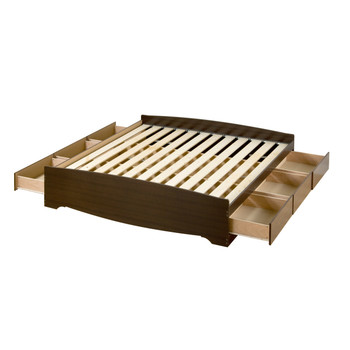 King Mate's Platform Storage Bed with 6 Drawers, Espresso