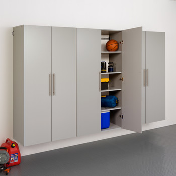 "HangUps 108"" Storage Cabinet Set E - 3pc, Light Gray"