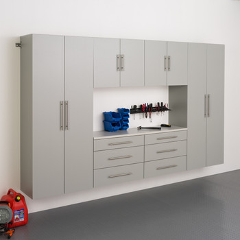 "HangUps 120"" Storage Cabinet Set I - 6pc, Light Gray"