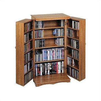 Solid Hardwood Mission Style CD/DVD/Blu-ray Storage Cabinet - Dark Oak