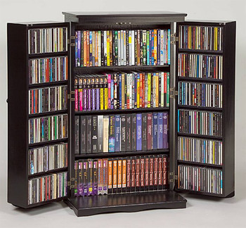 Solid Hardwood Mission Style CD/DVD/Blu-ray Storage Cabinet - Black