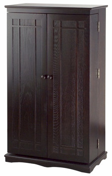 Solid Hardwood Mission Style CD/DVD/Blu-ray Storage Cabinet - Espresso