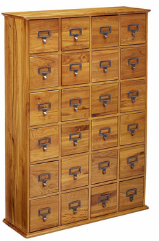 Hardwood Library 192 DVD 456 CD Storage Drawer Cabinet - Oak