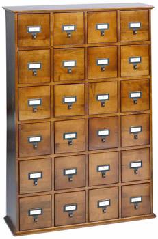 Hardwood Library 192 DVD 456 CD Storage Drawer Cabinet - Walnut
