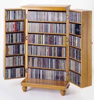 Louvered Hardwood Mission Style CD/DVD Storage Cabinet - Oak