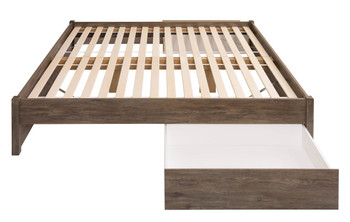 King Select 4-Post Platform Bed with 2 Drawers, Drifted Gray