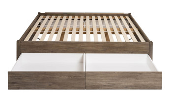 King Select 4-Post Platform Bed with 4 Drawers, Drifted Gray