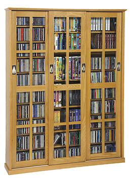 Mission Style 3 Sliding Glass Door CD DVD Storage Cabinet - Oak