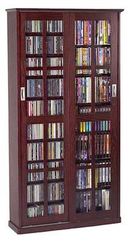 Mission Style Double Sliding Glass Door CD DVD Storage Cabinet - Dark Cherry