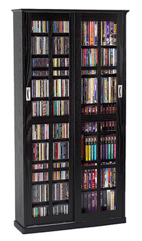 Mission Style Double Sliding Glass Door CD DVD Storage Cabinet - Black