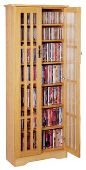 "62"" Mission CD/DVD Cabinet w/Tempered Glass Doors - Oak"