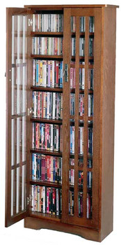 "62"" Mission CD/DVD Cabinet w/Tempered Glass Doors - Walnut"