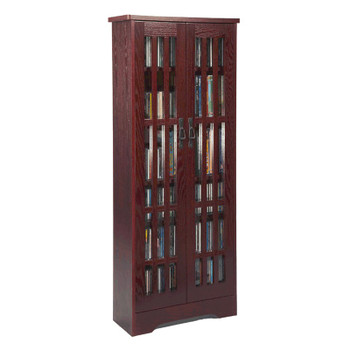 "62"" Mission CD/DVD Cabinet w/Tempered Glass Doors - Dark Cherry"