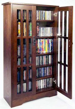 "48"" Mission CD/DVD Cabinet w/Tempered Glass Doors - Walnut"