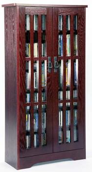 "48"" Mission CD/DVD Cabinet w/Tempered Glass Doors - Dark Cherry"
