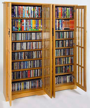 """62"""" Double Mission CD/DVD Cabinet w/Tempered Glass Doors - Oak"""