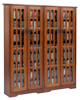 """62"""" Double Mission CD/DVD Cabinet w/Tempered Glass Doors - Walnut"""
