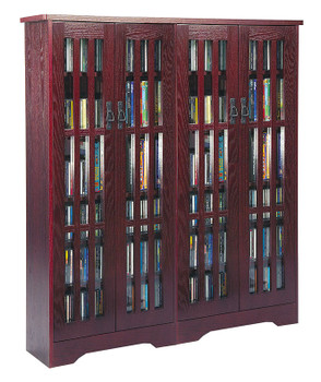 """62"""" Double Mission CD/DVD Cabinet w/Tempered Glass Doors - Dark Cherry"""