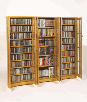 "62"" Triple Mission CD/DVD Cabinet w/Tempered Glass Doors - Oak"