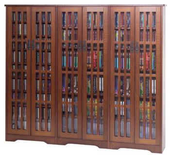 "62"" Triple Mission CD/DVD Cabinet w/Tempered Glass Doors - Walnut"