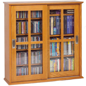 Double Sliding Door Wall Mount CD/DVD Cabinet - Oak