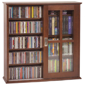 Double Sliding Door Wall Mount CD DVD Cabinet - Walnut