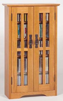 Glass Door Mission Style Wall Mount CD DVD Cabinet - Oak