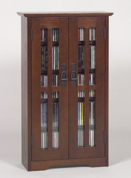 Glass Door Mission Style Wall Mount CD/DVD Cabinet - Walnut