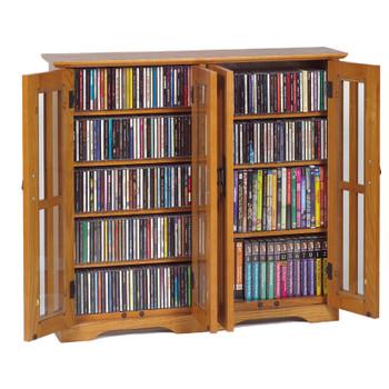 Double Wide Glass Door Mission Style Wall Mount CD DVD Cabinet - Oak