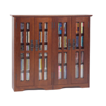 Double Wide Glass Door Mission Style Wall Mount CD/DVD Cabinet - Walnut