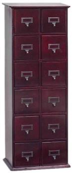 Hardwood Library Style 228 CD 96 DVD Storage Drawer Cabinet - Cherry