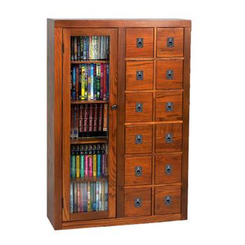 Librarian's Glass Door Media Storage Cabinet - Dark Oak