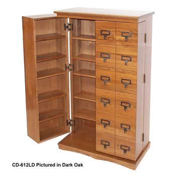 Librarian's Mission Style CD/DVD Media Storage Cabinet - Oak