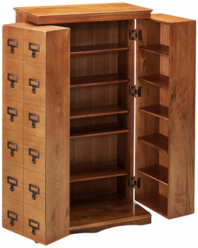 Librarian's Mission Style CD/DVD Media Storage Cabinet - Walnut