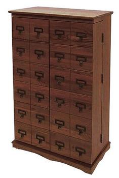 Librarian's Mission Style CD/DVD Media Storage Cabinet - Dark Oak