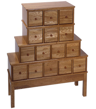 Solid Oak Apothecary Style 15 Drawer CD DVD Cabinet - Oak