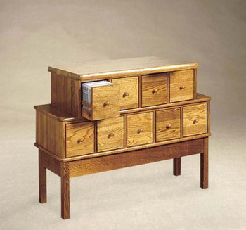 Solid Oak Apothecary Style 9 Drawer CD DVD Cabinet - Oak