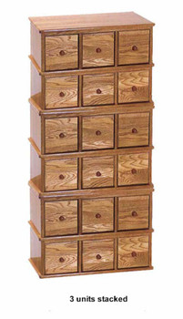 Solid Oak Apothecary Style 6 Drawer CD DVD Cabinet - Oak