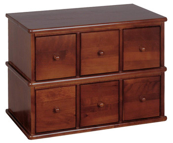 Hardwood Apothecary Style 6 Drawer CD DVD Cabinet - Walnut