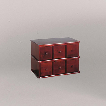 Hardwood Apothecary Style 6 Drawer CD DVD Cabinet - Cherry