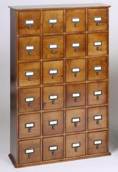 Hardwood Library Card File CD Cabinet - 24 Drawers Walnut