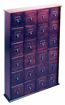 Hardwood Library Card File CD Cabinet - 24 Drawers Cherry