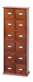 Hardwood Library Card File CD Cabinet - 12 Drawers Walnut