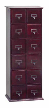 Hardwood Library Card File CD Cabinet - 12 Drawers Cherry