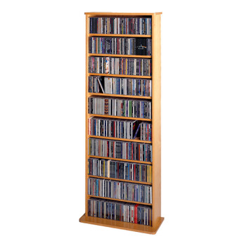 "64"" Tall Veneer CD DVD Media Wall Rack - Oak"