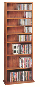 "64"" Tall Veneer CD DVD Media Wall Rack - Cherry"