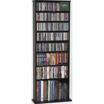 "64"" Tall Veneer CD DVD Media Wall Rack - Black"