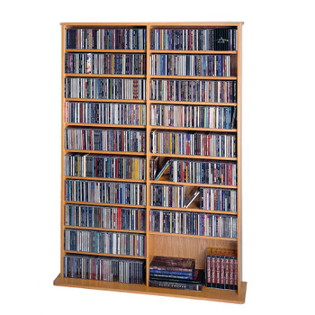"64"" Tall Double Veneer CD DVD Media Wall Rack - Oak"